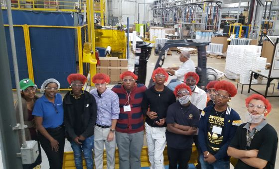 Student interns at BWAY construction site visit